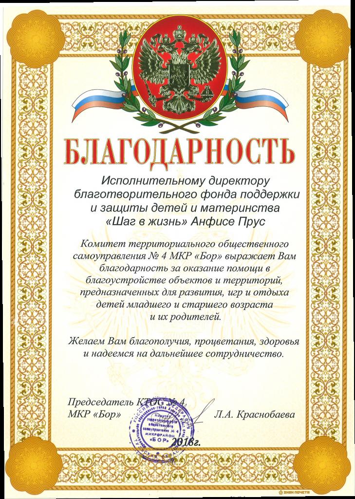 Благодарность от КТОС №4 МКР Бор, Анфисе Прус, Алексин